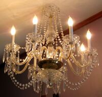 Fabulous Vintage Crystal Glass Chandelier