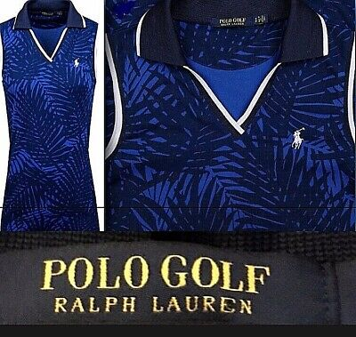 NWT $145 Polo Golf Ralph Lauren Collared Techno Tank Dress Navy Palm Print S,M,L