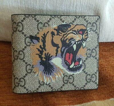 Gucci Beige Supreme Tiger Print Animal Bifold Mens Wallet - Card Wallet