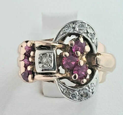 PRETTY 14K ROSE GOLD  RUBY & DIAMOND  RING EURO-CUT DIAMONDS