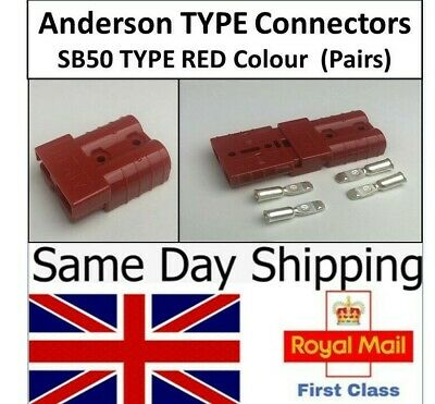 Pair Anderson (TYPE) SB50A 50 Amp Connectors Red Plug Cable Terminal Battery UK