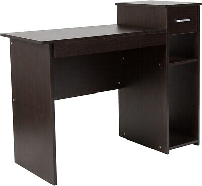 Computer Desk With Shelves And Drawer In Espresso Wood Grain Laminated Finish