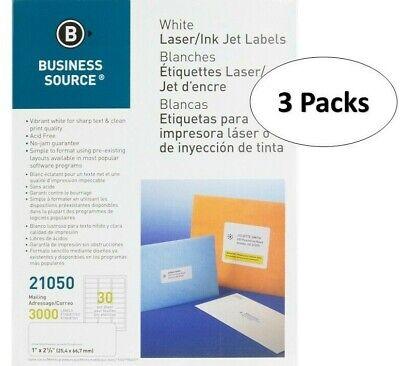 Premium Business Source 21050 White Laser Label - 1 X 2.62 30sheet 3 Packs