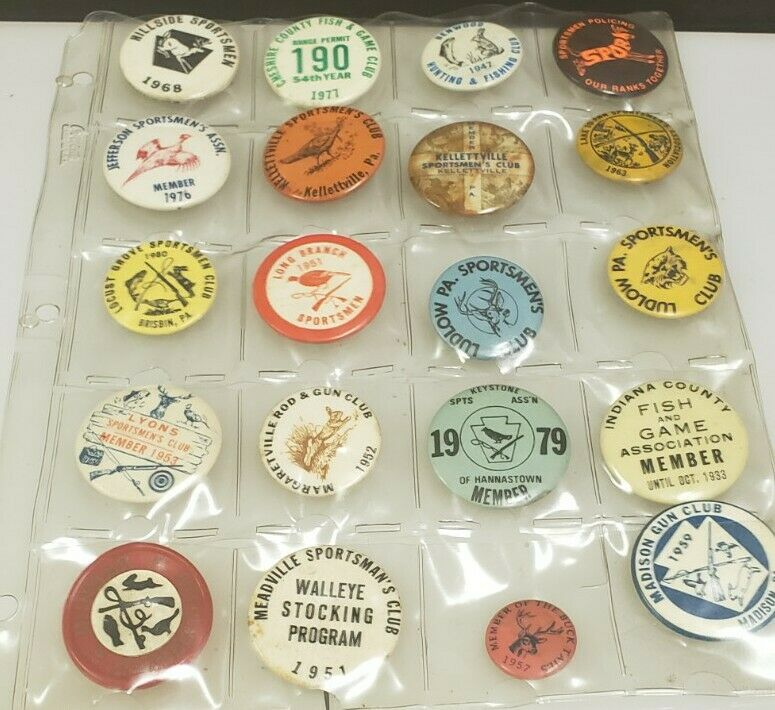 Vintage Gun Club, Sportsmans, Hunting, Fishing Club, License Pinback Pin Button