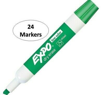 Expo Chisel Dry Erase Markers For Whiteboards 80004 Green 24 Count