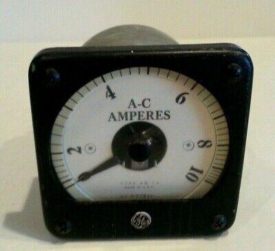 Vintage Ge General Electric 0-10 Amp Amperes Panel Meter Ab-13 8ab 13abr5