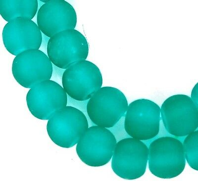 50 Czech Frosted Sea Glass Round / Rocaille Beads Matte - Sea Green 6mm
