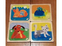 6 wooden jigsaws, suitable from 12 months+