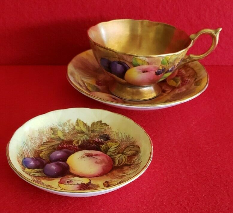 Aynsley TRIO, Cup & Saucer, Butter Plate, Fruit Orchard Gold Signed