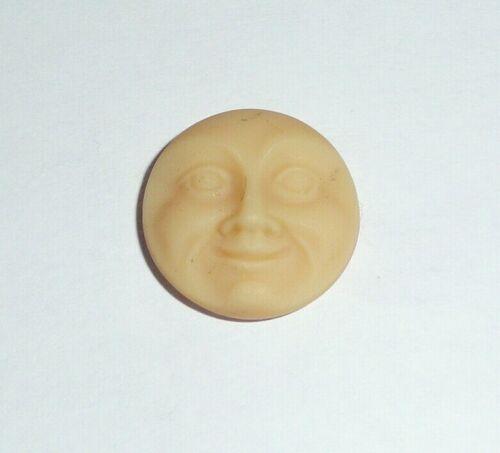 Cool Czech Glass Shank Moon Face Button 18mm - Bone Colored w/ Matte Finish