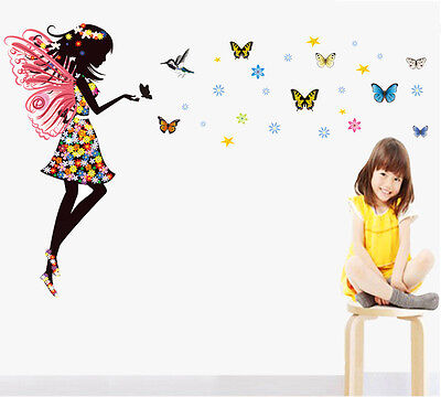 - US Fairy Girl Butterflies Mural Wall Sticker Vinyl Art Decal Kids Room Decor DIY