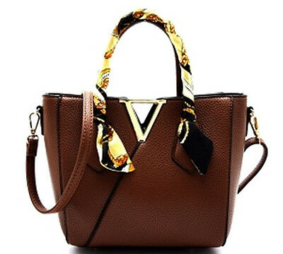 NEW Faux Leather Scarf Wrap Handle V-Shape Diophy Medium Satchel Adjust BROWN Brown Leather Wrapped Handles