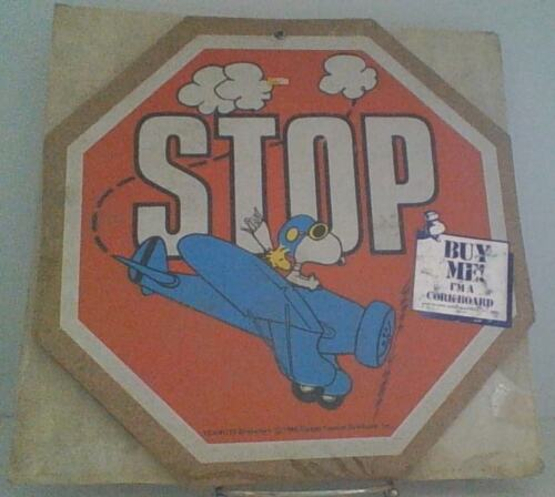 Vintage Peanuts Snoopy Flying Ace Stop Message Cork Board New In Package