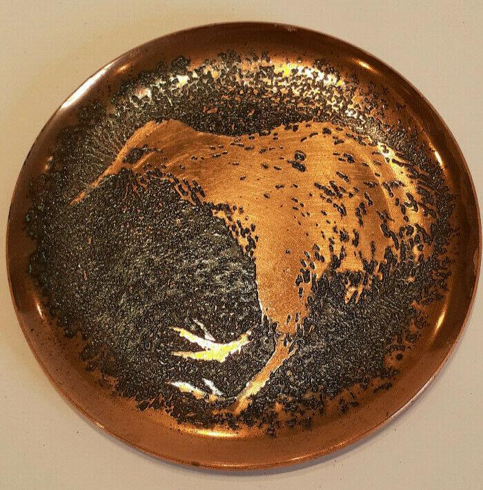 "New Zealand Rock Art Kiwi Bird Copper Trinket Coin Pin Dish 3.75"" *Story on Back"