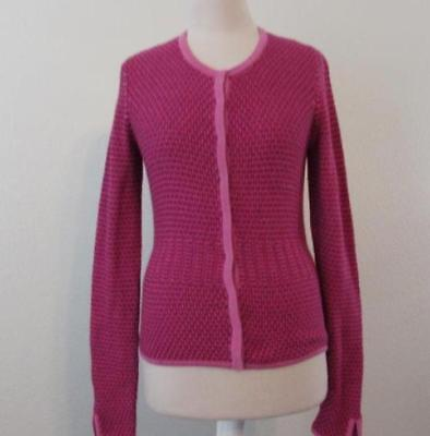 ANN TAYLOR Sm womens pink magenta snap front textured l/s cardigan sweater Magenta-snap