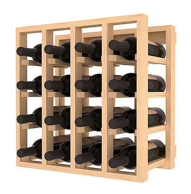 Wine Rack Stacking Cubicle in Ponderosa Pine. Holds 16 Bottles. Ships for Free!