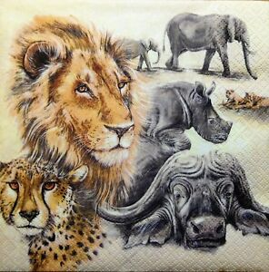 4 X SINGLE PAPER NAPKINS  PARTY wild animals   DECOUPAGE  CRAFTING-96