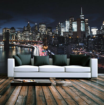 New York City Night View Building Wallpaper Mural Photo Home Room Poster Decor