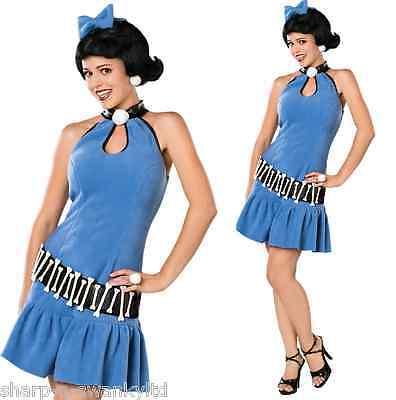 Damen Luxus Sexy Betty Rubble Flintstones 60er Jahre Party Kostüm Outfit (Flintstones Betty Rubble Kostüm)