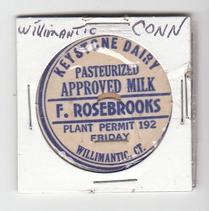 [48002] UNDATED MILK BOTTLE CAP KEYSTONE DAIRY (WILLIMANTIC, CONNECTICUT)