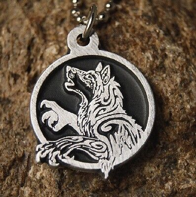 Tribal Howling Wolf pendant Pewter Necklace with chain - Wolf Pendant