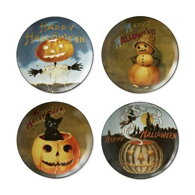 Williams Sonoma Halloween Plates (New in Box WILLIAMS SONOMA Halloween Plates Set/4 Porcelain 8 1/2