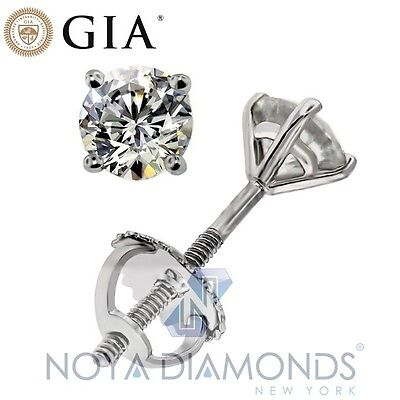 1.28 CARAT I - J SI1 GIA CERTIFIED DIAMOND STUD 4-PRONG MARTINI SETTING EARRINGS