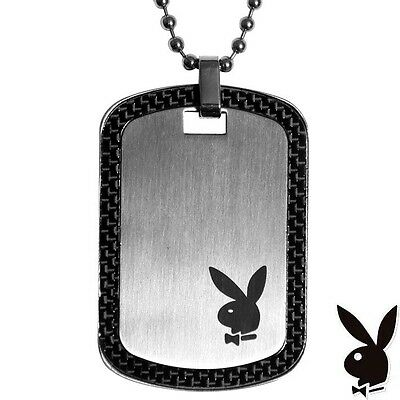 Men's Playboy Necklace Dog Tag Pendant w Chain Stainless Steel Silver Black Mens