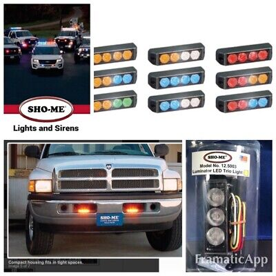 Led 3 Lights Warning Emergency Vehicle Sho-me Blue Red Clear Kit Strobe Flasher