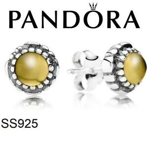 NEW PANDORA NOVEMBER STUD EARRINGS 290543CIG 212101759 BIRTHDAY BLOOMS CITRINE 925 STERLING SILVER JEWELLERY JEWELRY