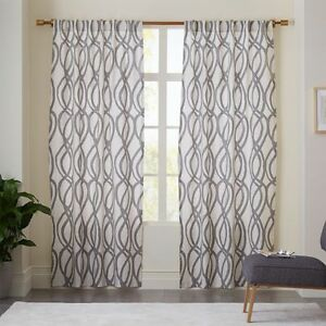 PRICE REDUCTION!!! West Elm Grey/White Curtains