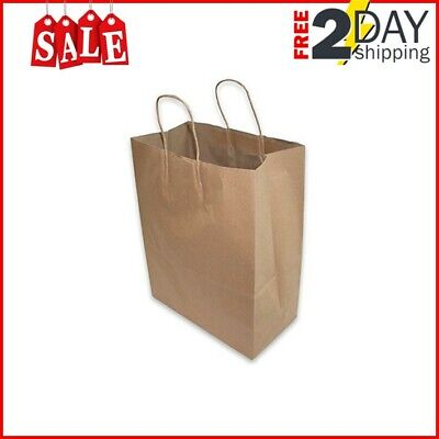 50 PCS Large Kraft Brown Paper Grocery Shopping Bags With Rope Handles Retail