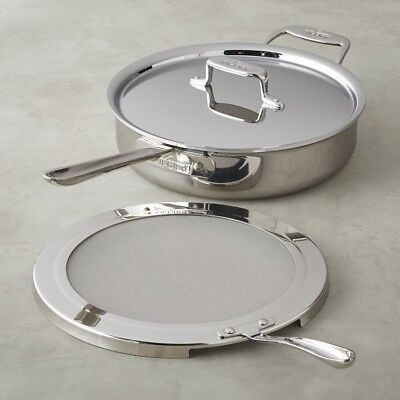 - All-Clad d5 Polished 5-ply Stainless-Steel 4-Qt Sauté Pan With Splatter Screen.