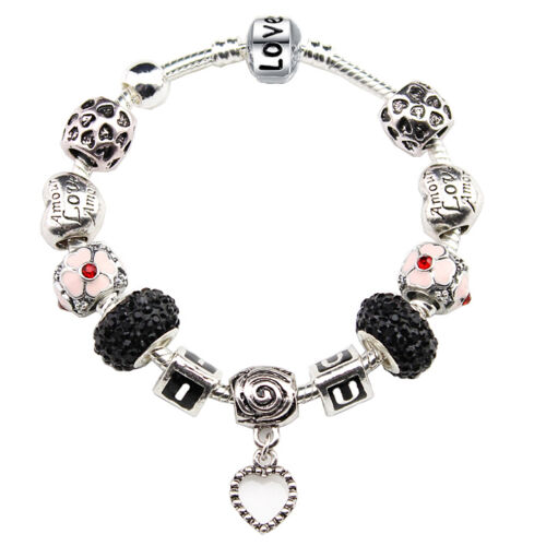 I Love You Dangle Heart Swarovski Crystal Beads Enamel Charms Silver Pandora Bracelet