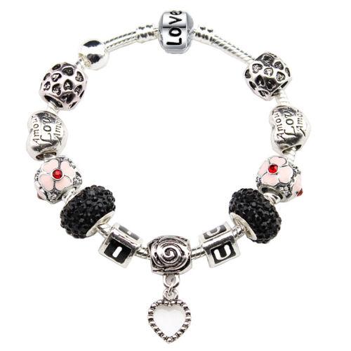 I Love You Dangle Heart Swarovski Crystal Beads Enamel Charms Silver Pandora Bracelet