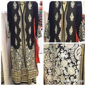 Beautiful Pakistani Anarkali. Black with Embroidery