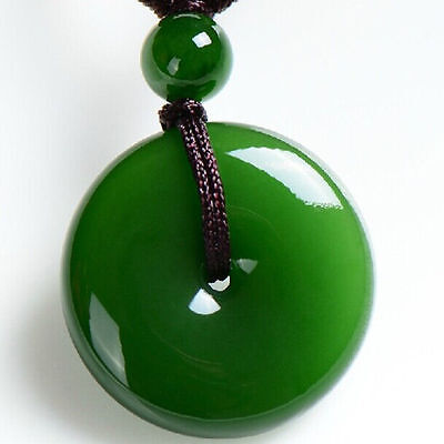 Chinese natural jade carved by hand round jade pendant with