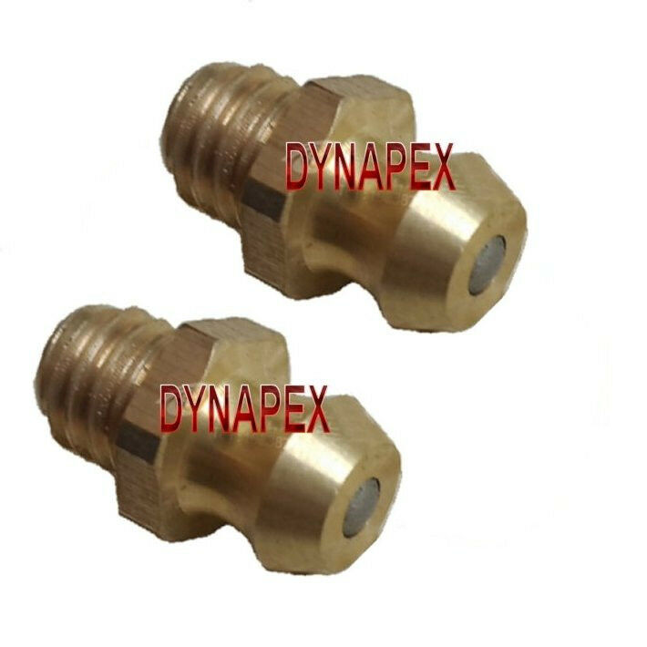 2 Pieces Metric Grease Fitting M5 M5X0.8 Zerk Nipple Straight Brass L-C5