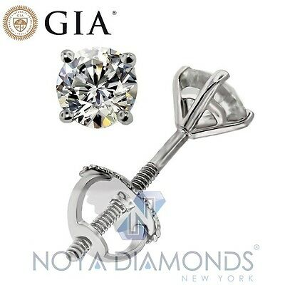 0.89 CARAT D VVS2 GIA CERTIFIED DIAMOND STUD 4-PRONG MARTINI SETTING EARRINGS