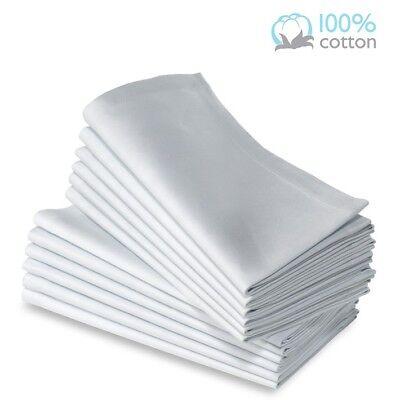 8 Pack premium white 100% cotton restaurant wedding dinner cloth napkins 20x20 (White Napkins)