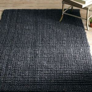 Solid Black Natural Jute Area Rug Brand New 4'11x7'5 or 6'7x9'1