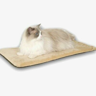 KH3291 K&H Pet Products Heated Soft Indoor Kitty Cat Bed Mat Mocha 12.5 X 25 - Heated Kitty Cat Bed