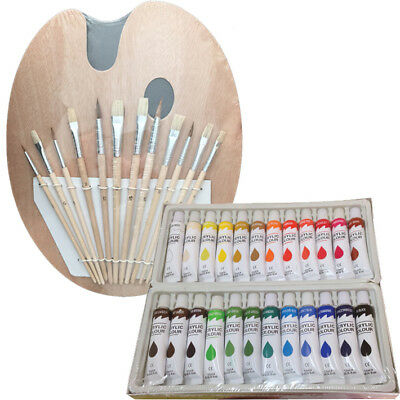 Artist 24 ACRYLIC COLOR Painting Paint Set + 12 Brush Set wi