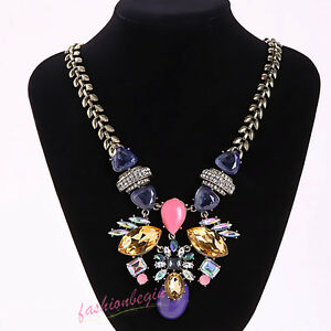 New Design Women Gorgeous Multi Crystal Rainbow Bib Statement pendent necklace