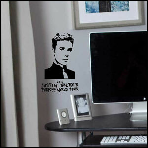 Small Justin Bieber wall art sticker 2016 purpose world tour 24cm W x 37cm H