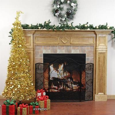 4' PRE-LIT POP UP CHRISTMAS TREE GOLD 100 CLEAR LIGHTS NEW
