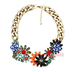 New Design Women Bib Statement Multi Crystal Acrylic Gorgeous necklace Collar
