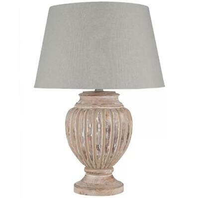 Lily Manor 65cm Table Lamp Solid Wood Brown Base Grey Cotton Shade 65cm H  Lily Lampe
