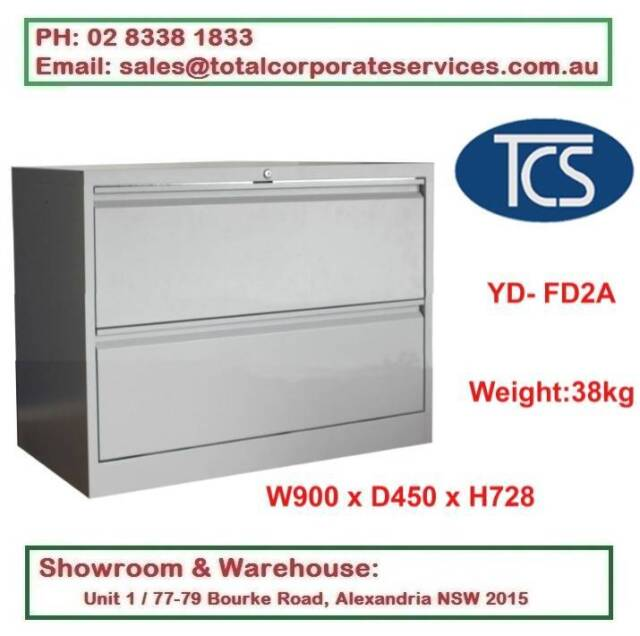 NEW 2 LATERAL DRAWER METAL FILING CABINET HOME & OFFICE