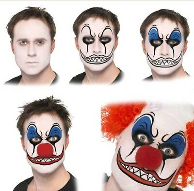 Scary Clown Face Paint Make up Kit with Red Nose Halloween fancy dress makeup (Scary Face Paint Halloween)